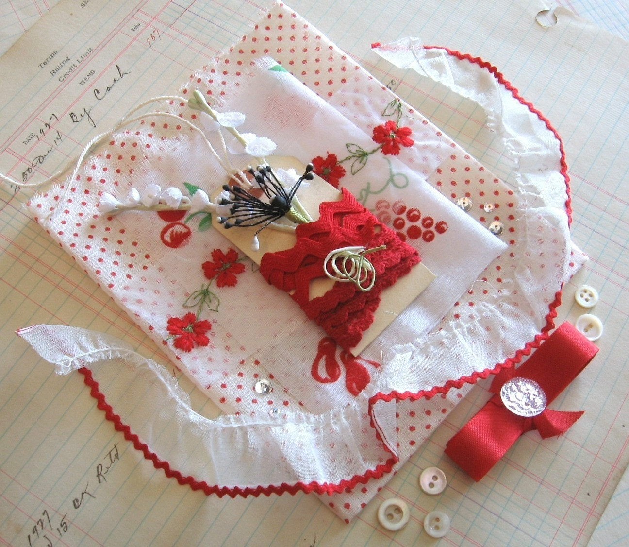 Rockabilly Red and White Vintage Crafting Set -- Polka Dot and Flocked Fabric, Seam Binding, Rick Rack and More