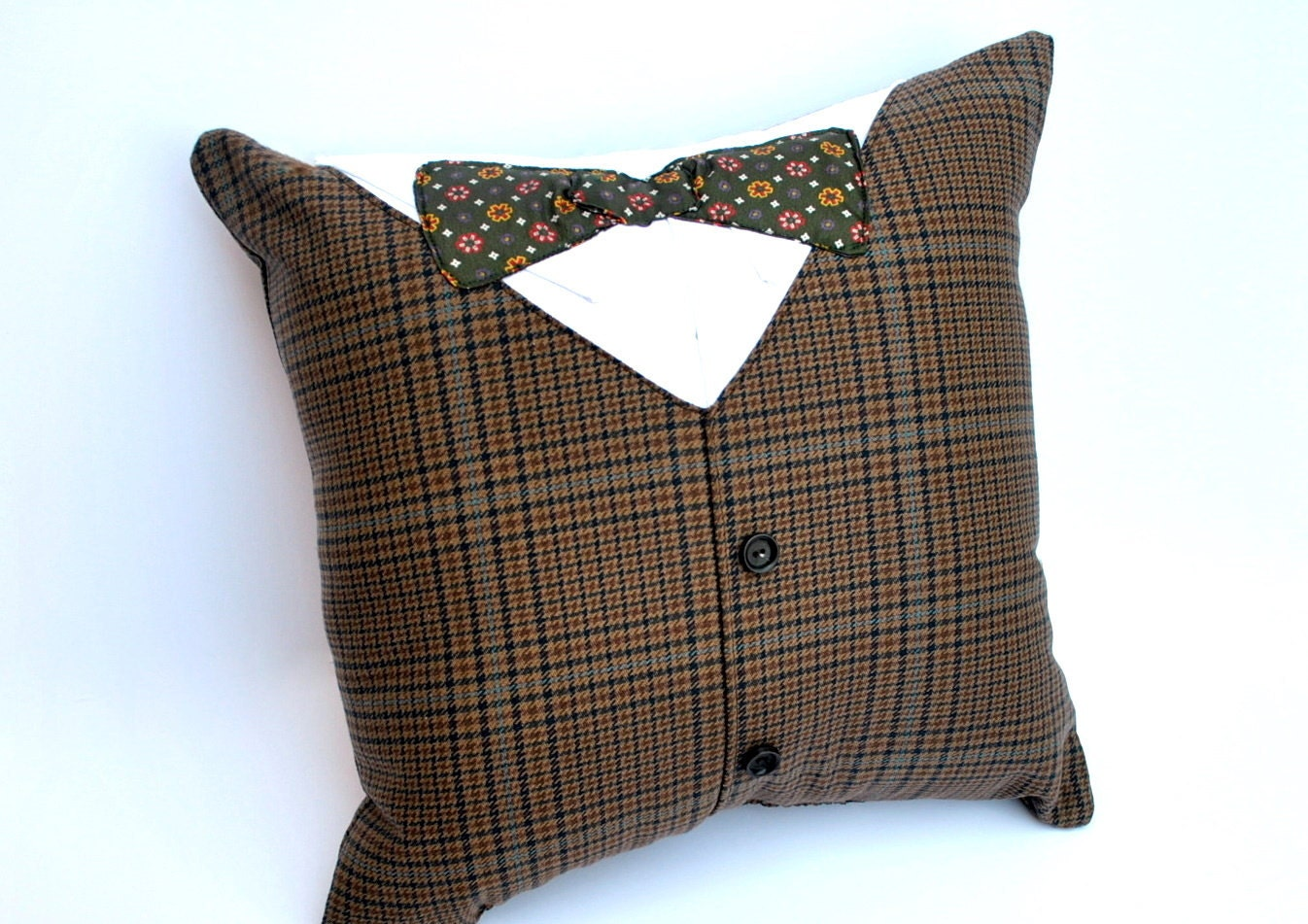 Recycled Men's Suit and Bow Tie Pillow