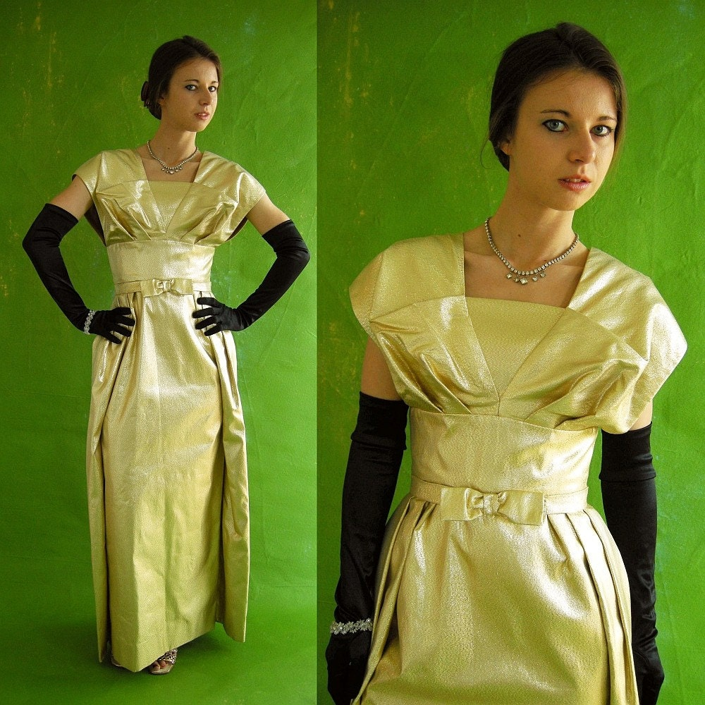 GLAM Gold Lame Vintage 60s Evening Gown S by empressjade on Etsy