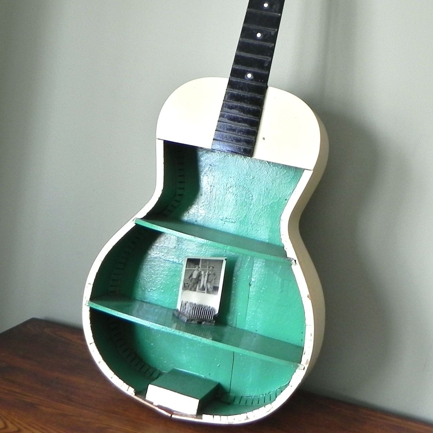 RESERVED FOR AndreaRawr  Vintage guitar shelf painted green, white and black