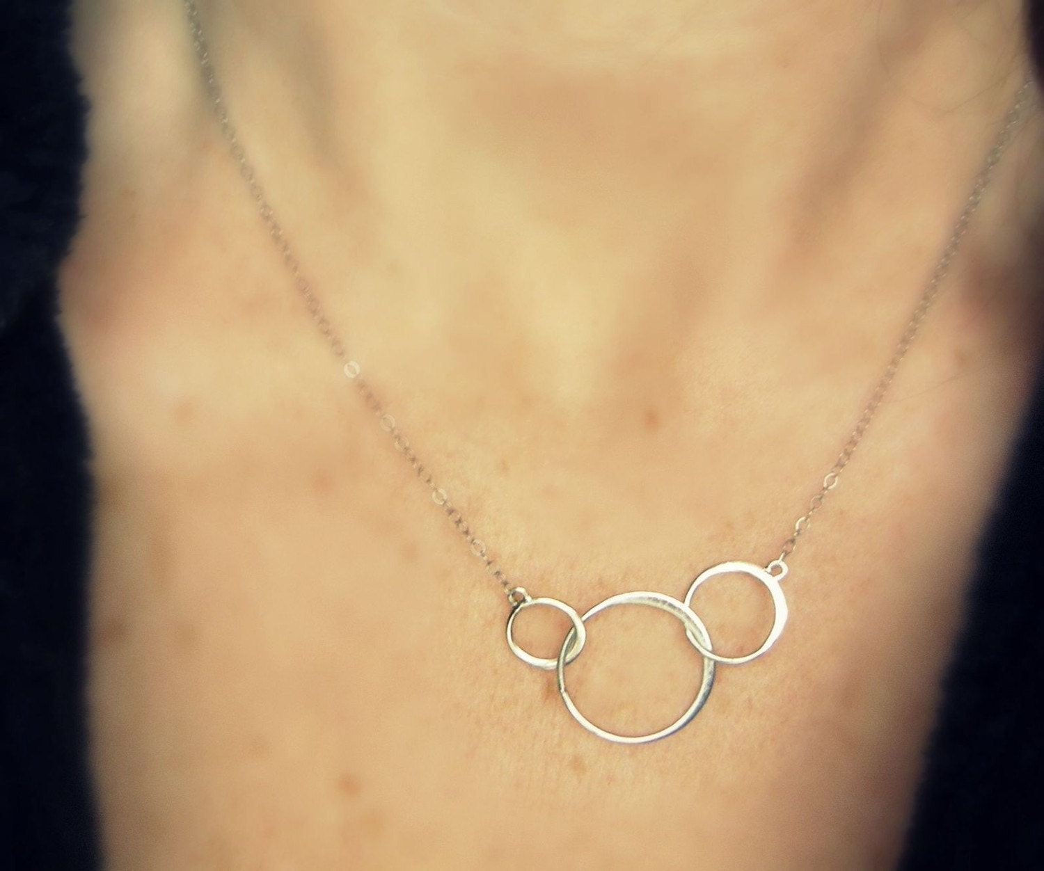 READY TO SHIP - Beautiful and Simple ----  Three Circles ----Sterling Silver Necklace - SIMAG