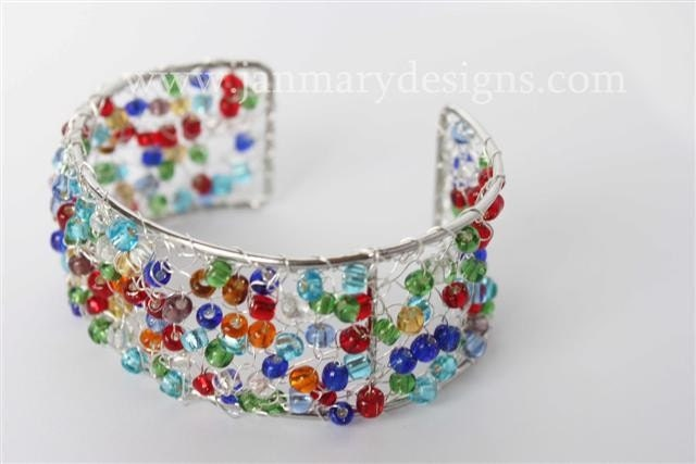 Knitted Cuff Bracelet in multi bright beads