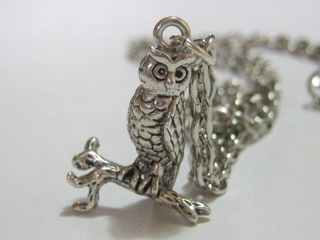 Hoot Owl Pendant Sterling Silver Plated Charm Necklace