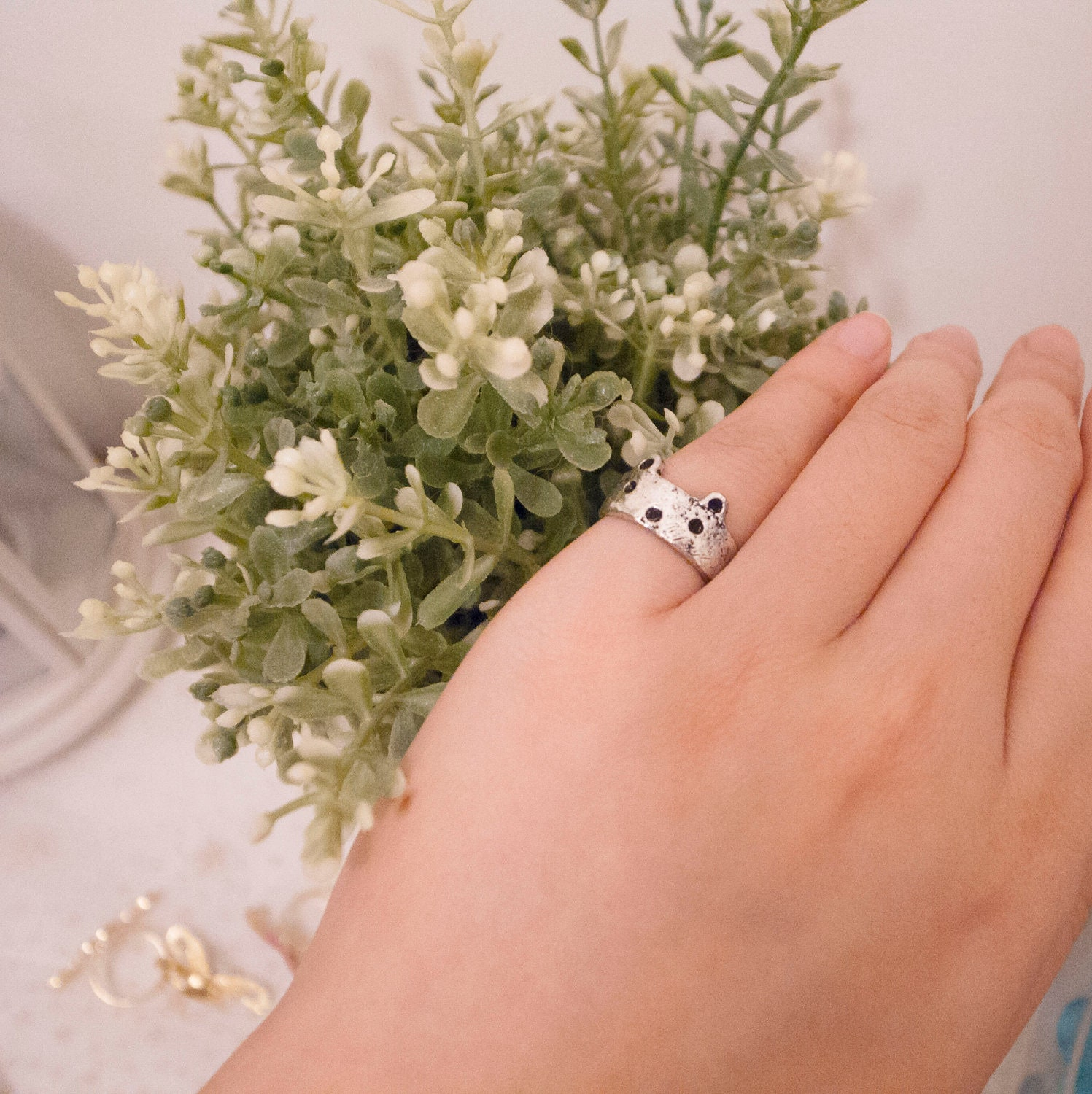Bear Face Ring, Cat Face Ring, Adjustable Ring, small finger, forefinger, first finger, bronze color, silver color