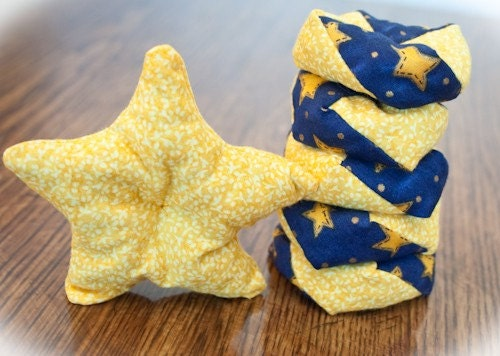 Otedama (Japanese Juggling and Jacks Game) Whimsical Stars on Blue - Set of 6