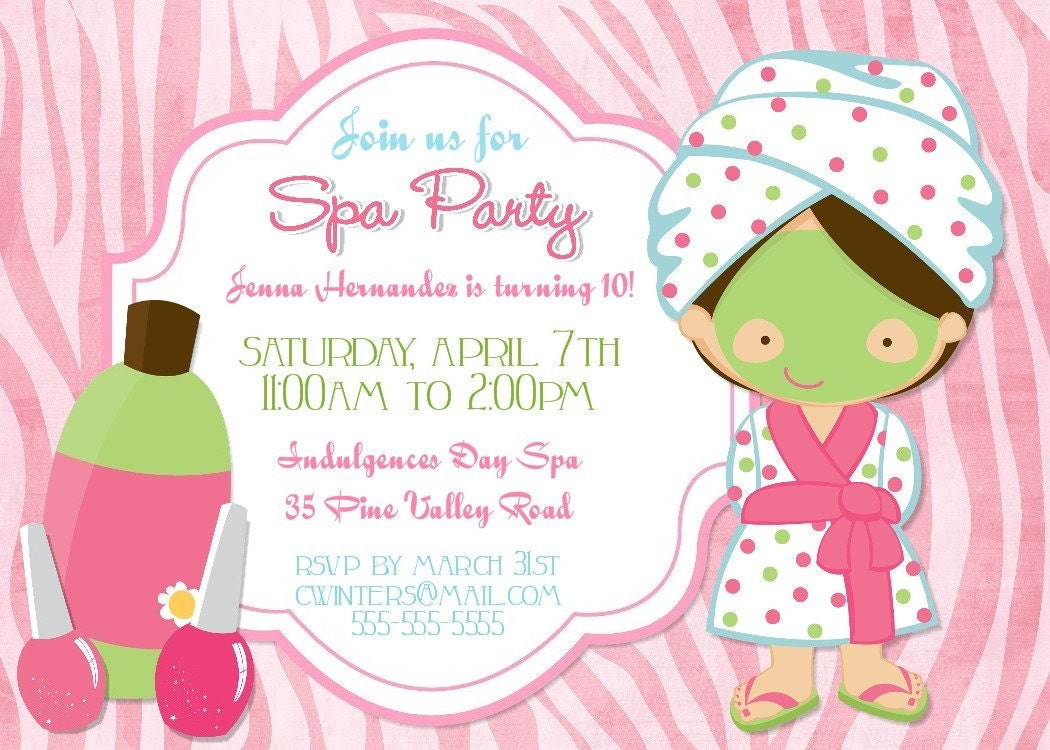 17 Best images about Spa party – Spa Party Birthday Invitations