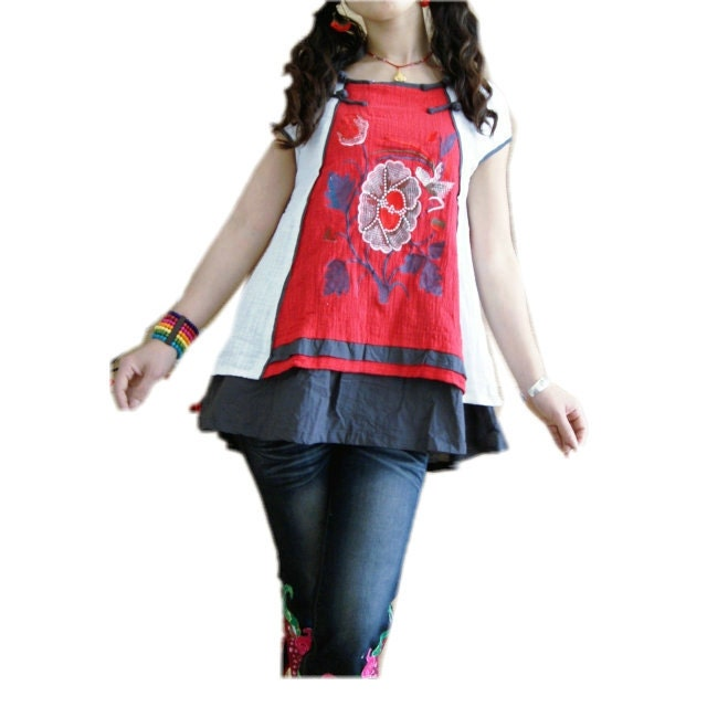 Chinese Ethnic style embroidered short-sleeved shirt blouse