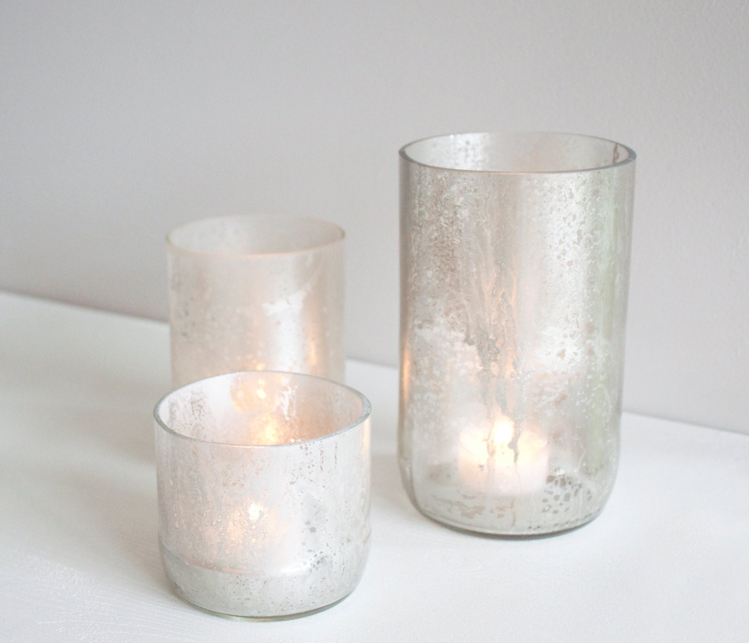 One Recycled Wine Bottle Votive - Wide