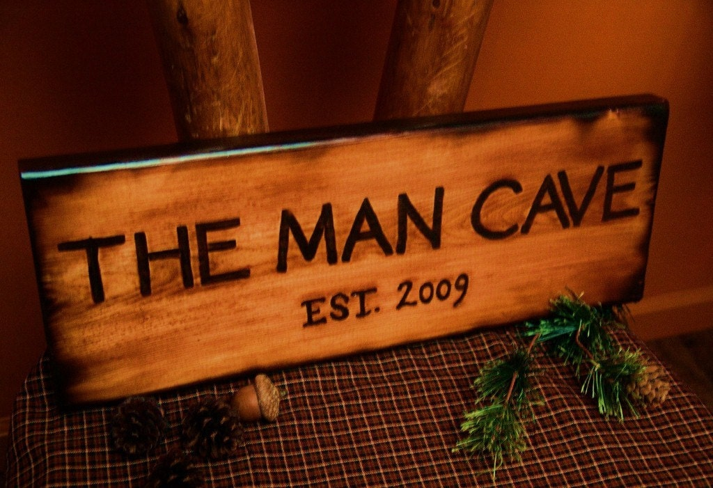 Man Cave Bathroom Signs : The man cave wood sign burned rustic log cabin by