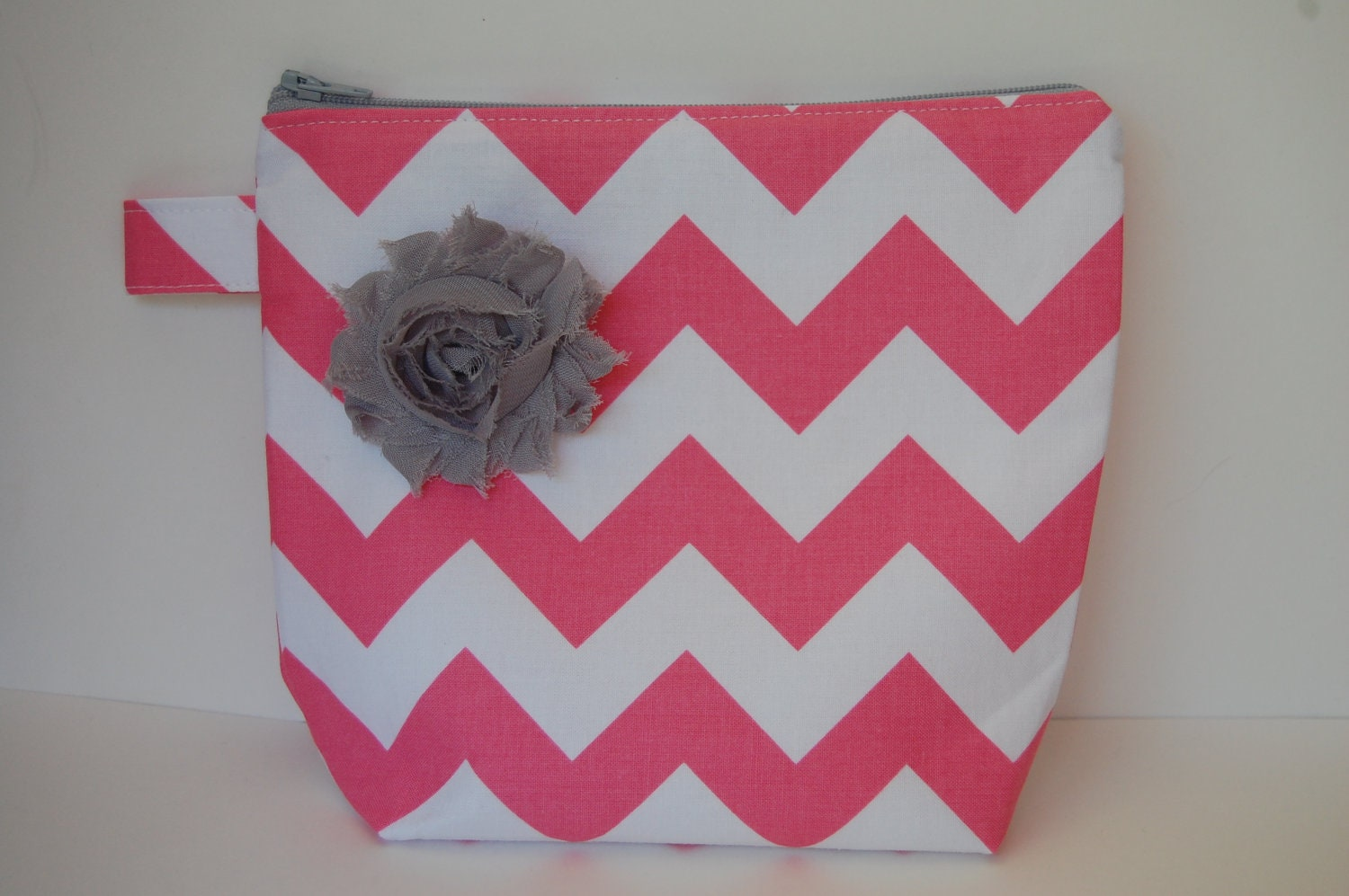 Pink Chevron Cosmetic Bag