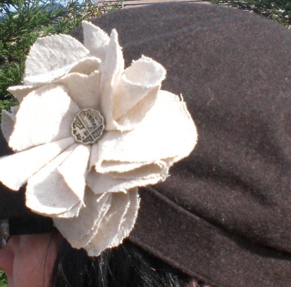 Burlap Flower Lapel Pin or Hair Clip-Made for Spring by TheSmithHotel