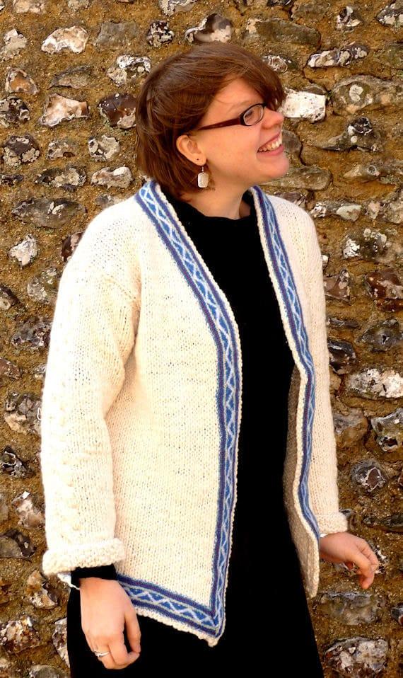 Isin Handspun Handknit Merino Wool Sami-style Cardigan