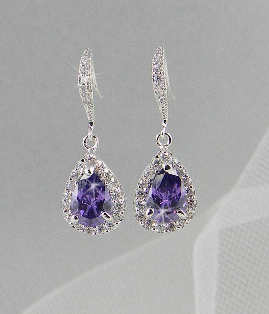Crystal Bridal earrings  Wedding jewelry Swarovski Crystal Wedding earrings Bridal jewelry, Ariel Purple  Drop Earrings