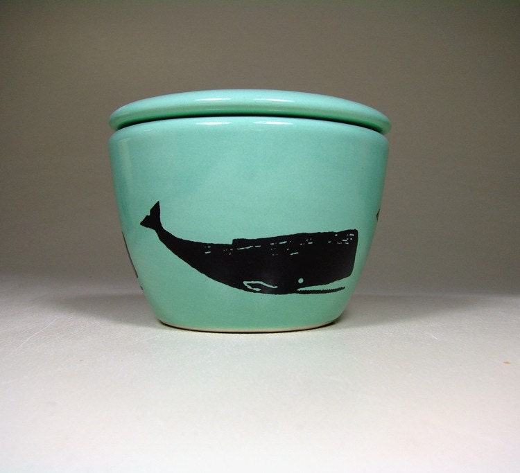 lidded bowl whale (blue green) - Made to Order/ Pick Your Colour