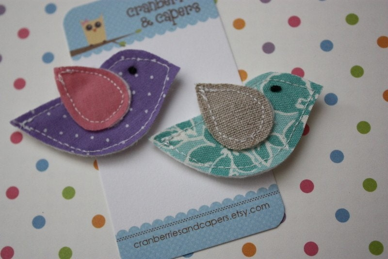 E V A- Fabric Scaps Birdie Clippies- Set of 2