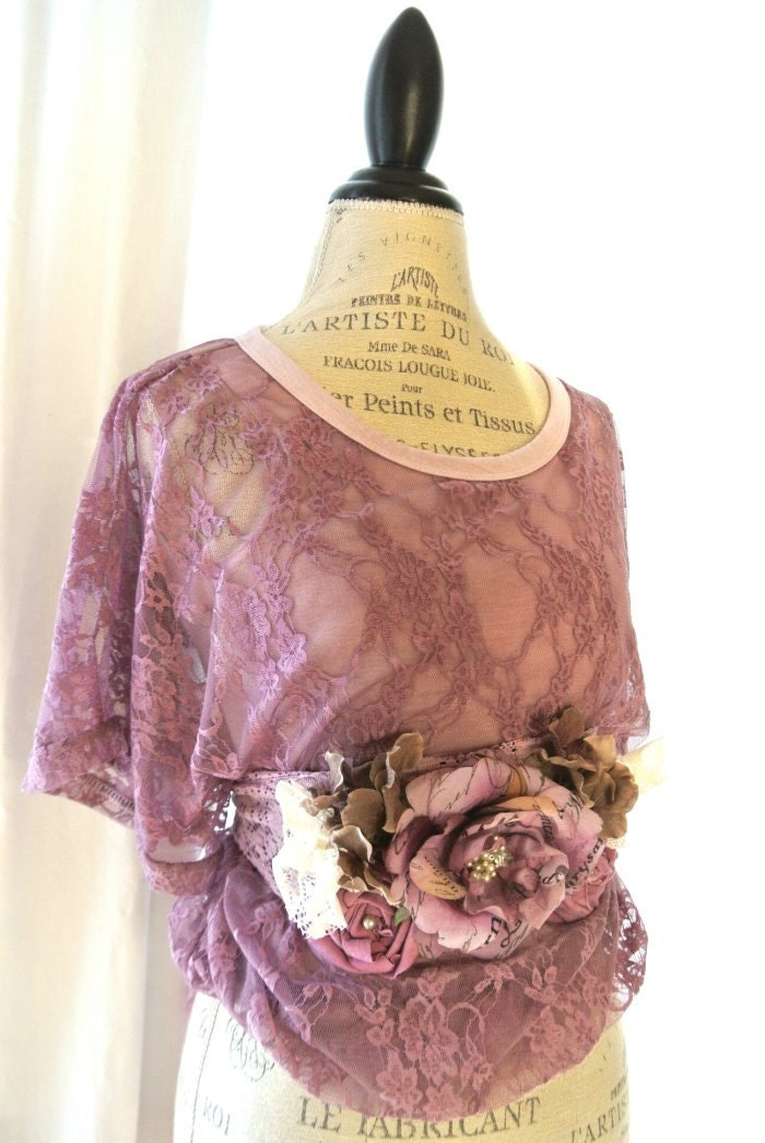 Shabby lace top, country chic womens clothing, cottage, lavender, fall