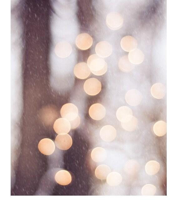 "Christmas Light Photography - bokeh print holiday decor sparkle neutral wall photo white gold cream brown sparkly, ""The Christmas Spirit"" - CarolynCochrane"