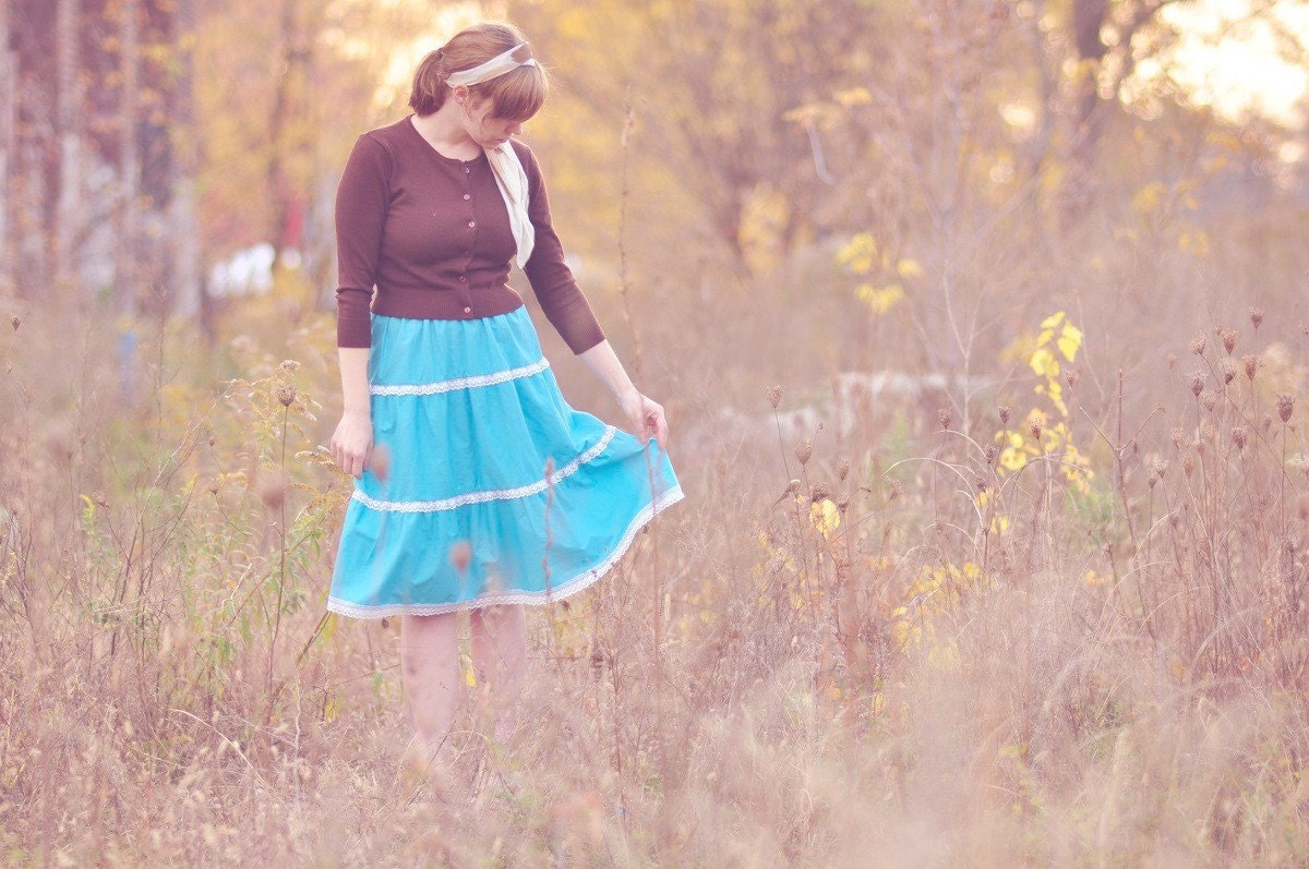 Vintage Bright Blue Tiered Prairie Skirt with Lace