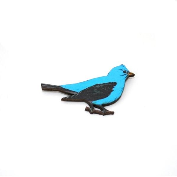 Blue Bird Brooch Wooden Bird Brooch Bird Illustration Animal Brooch