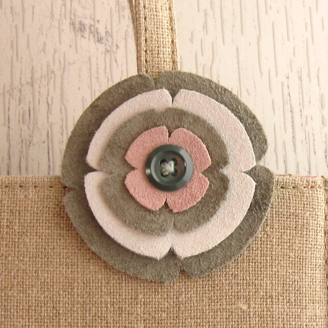 Spring Flower Handmade Leather Brooch in Pink and Grey