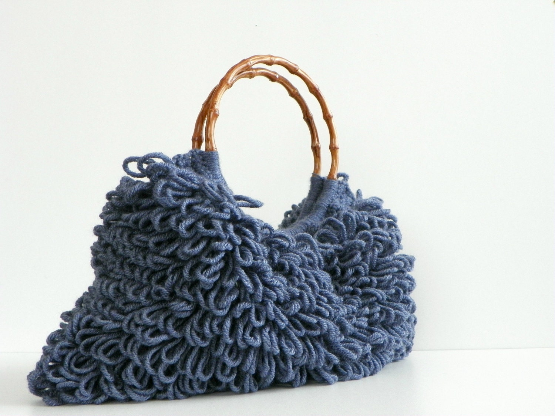 NzLbags ручной - Everyday Сумка - вязание крючком сумки Shaggy Denim Blue Nr - 0195