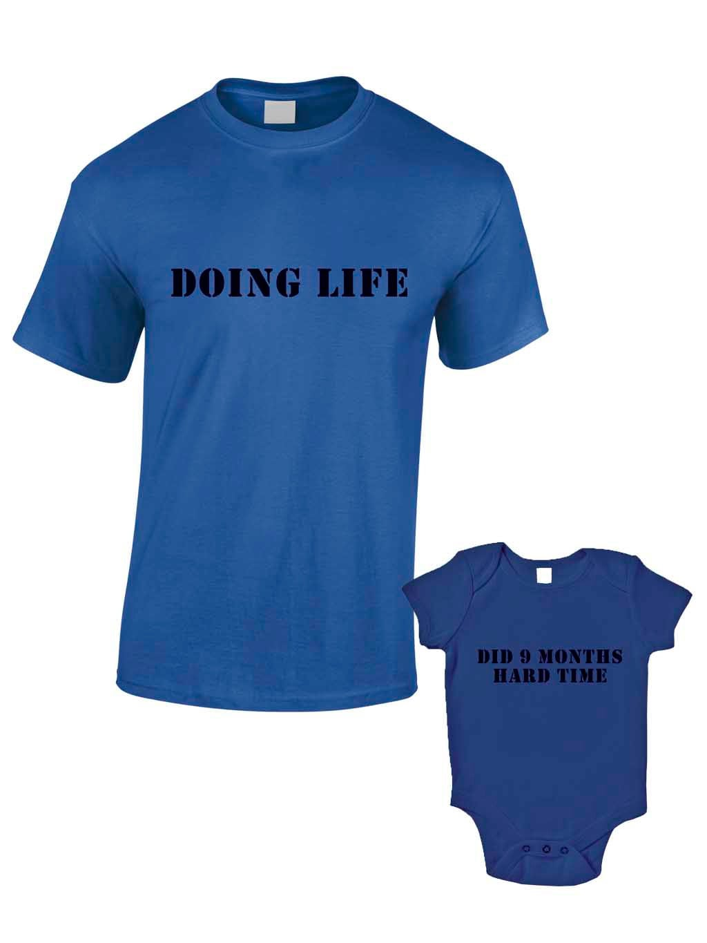 Nine Months Hard Time TShirts or Baby Grow  Matching Father Child Gift Set (2 shirts)  Baby Shower Fathers Day Present Son Daughter Dad