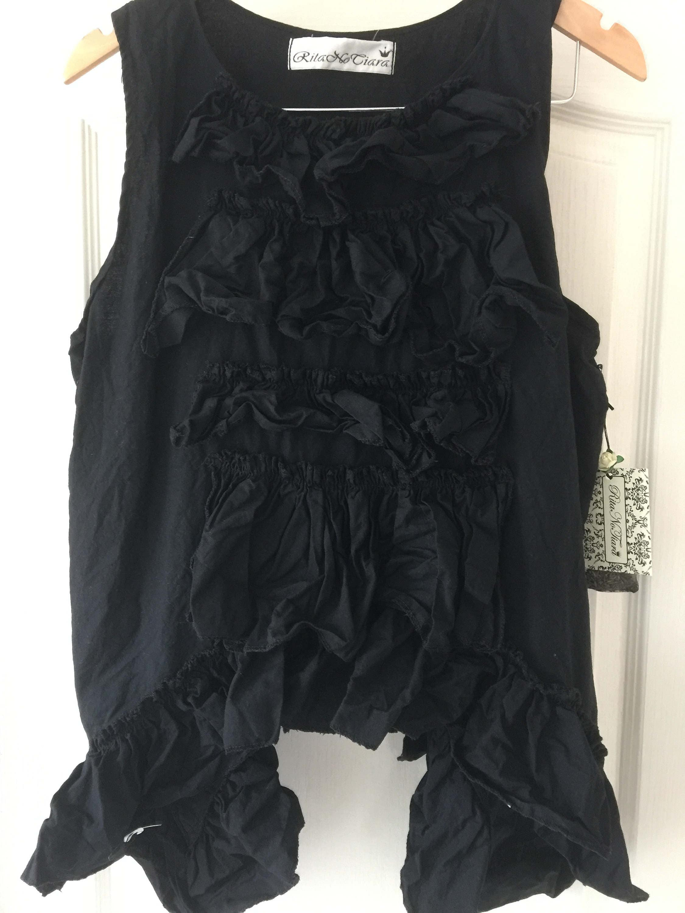 Authentic RITANOTIARA Black Lagenlook All Sizes Boho Prairie Shabby Chic Asymmetric Tank Top ruffled frills layer look quirky funky OSFA
