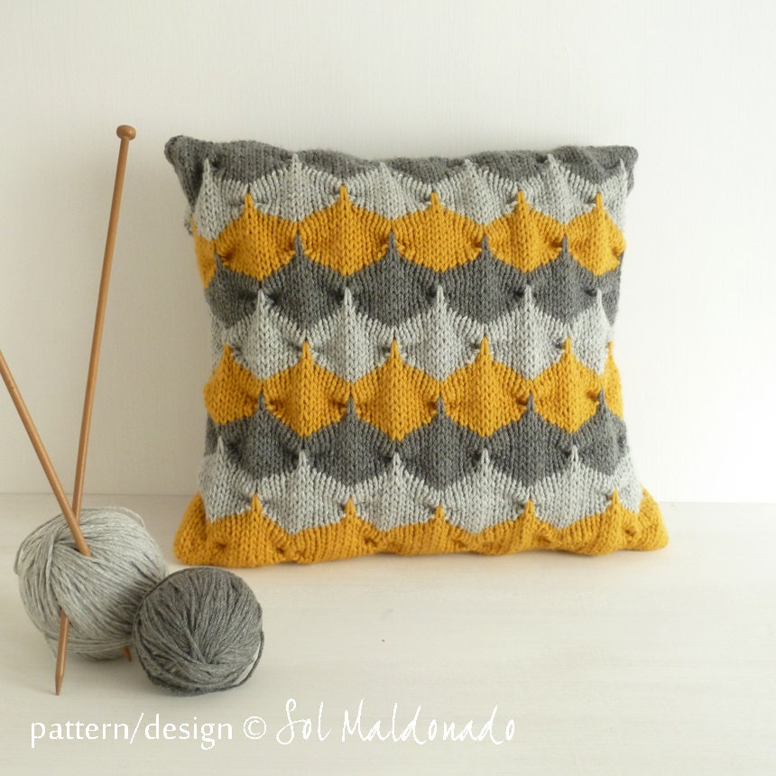 Cushion Knitting Patterns To Download : Decorative geometric Pillow knit pattern PDF cushion by bySol