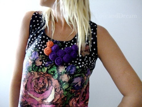Purple Orange Geometric Jersey Bib Necklace