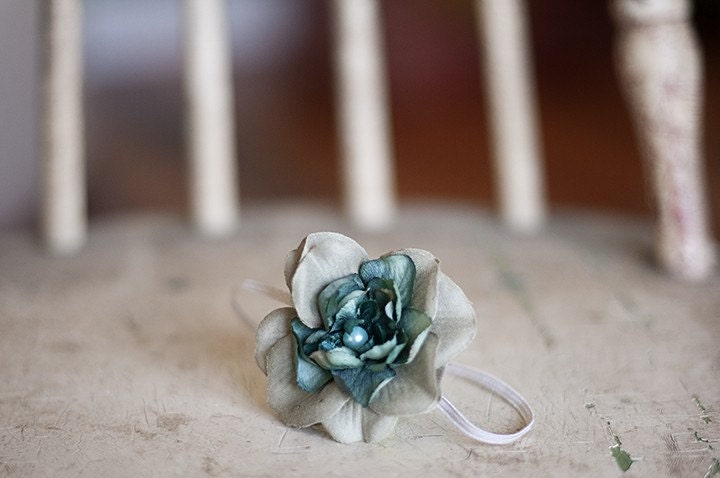 Gray and Teal Flower Headband