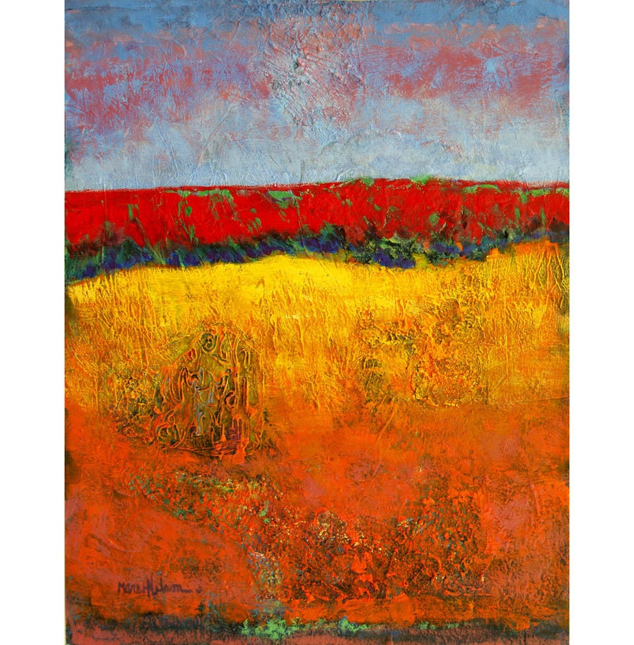 Abstract landscape painting texture modern by for Textured acrylic abstract paintings