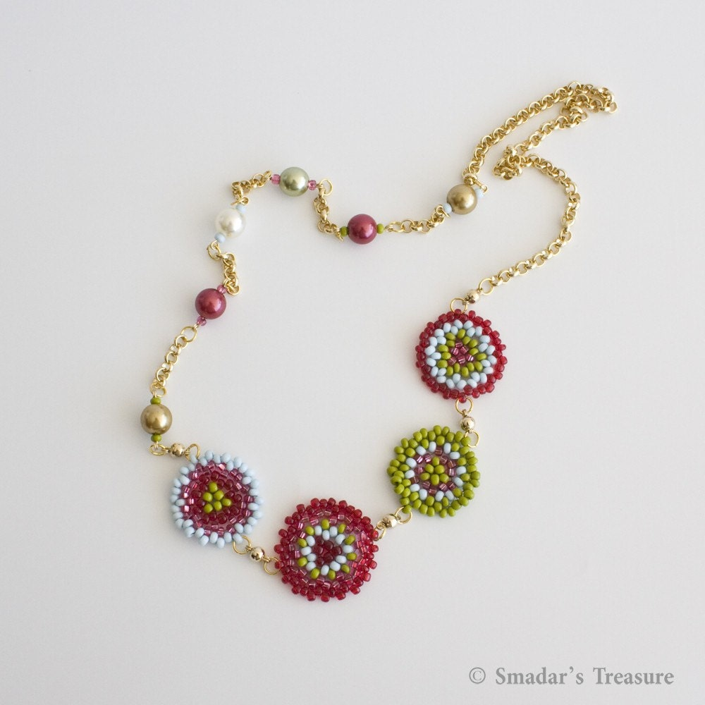 Asymetrical Colorful Necklace with Beaded Flowers