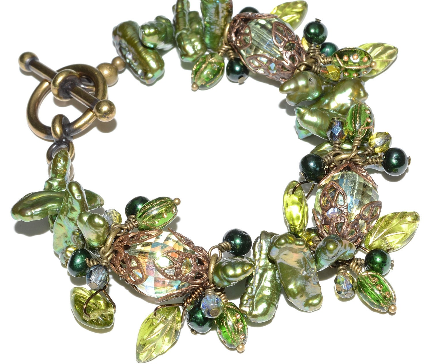 Chunky Green Pearl And Crystal Vintaj Charm Bracelet, Czech Glass Leaves And Ladybugs,Toggle, Nature Inspired Romantic Jewelry - SoManyPrettyBeads