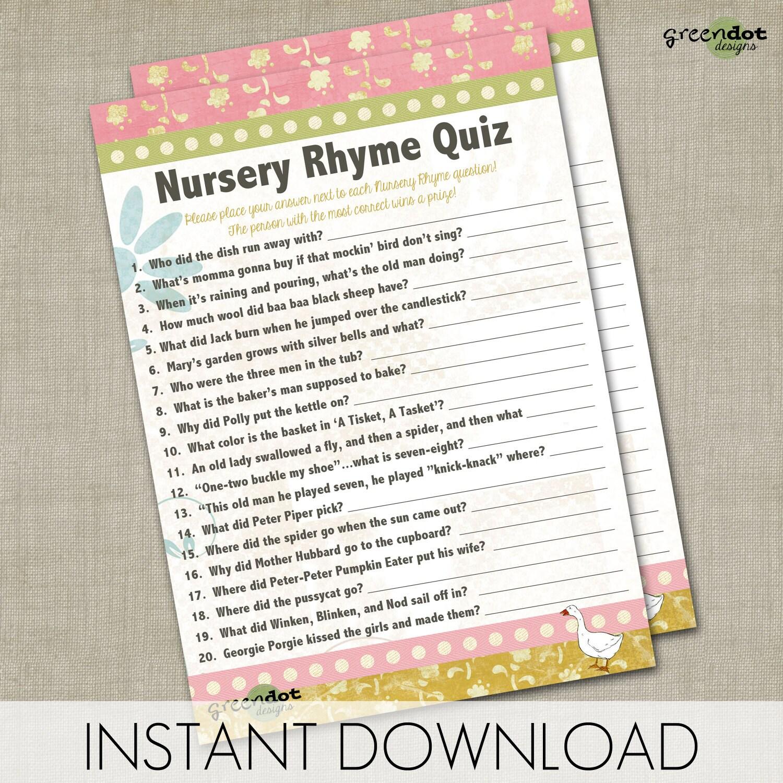 instant download nursery rhyme quiz baby shower game printable game