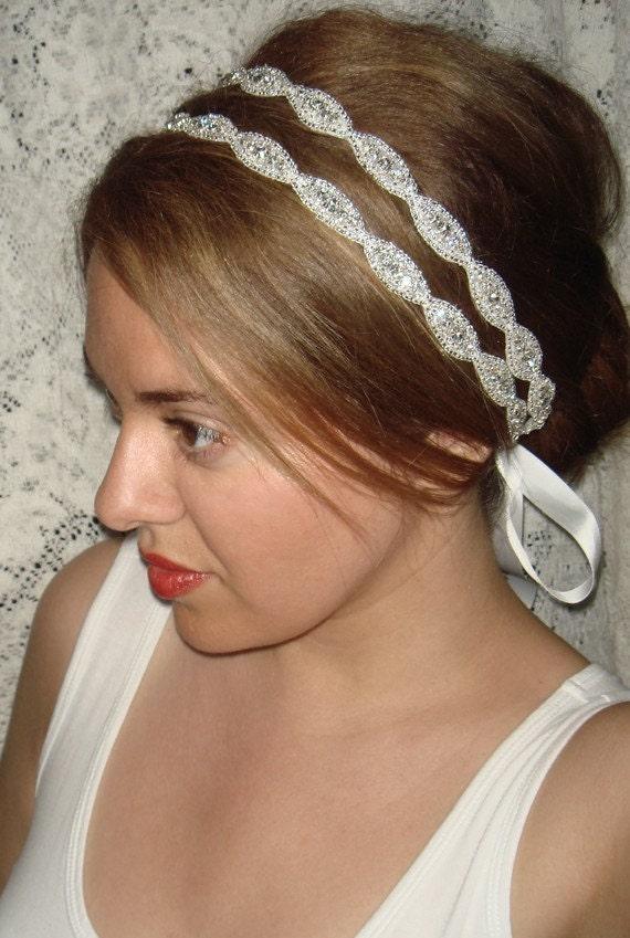 Double Athena Silver Headband/Halo- Tie on, halo, silver, satin, double strand