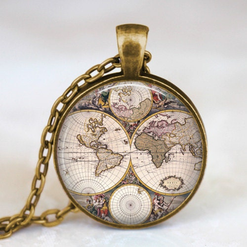 World map necklace world map pendant world map by starmekcreations