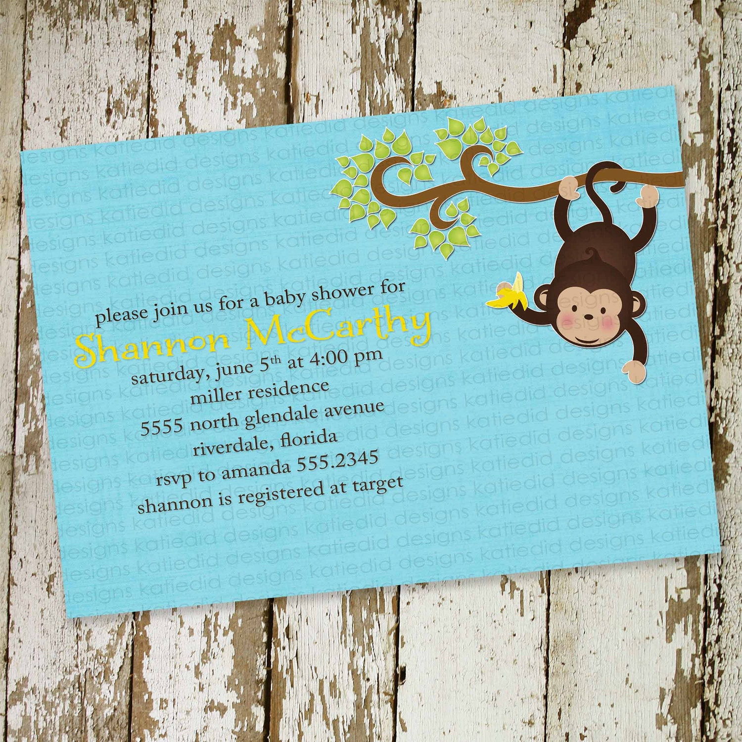 monkey baby shower invitations with hanging monkey digital printable