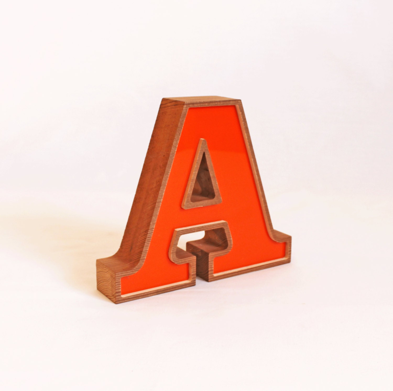 Orange letter wooden a block letter a vintage by thecommonsign for Custom block letters