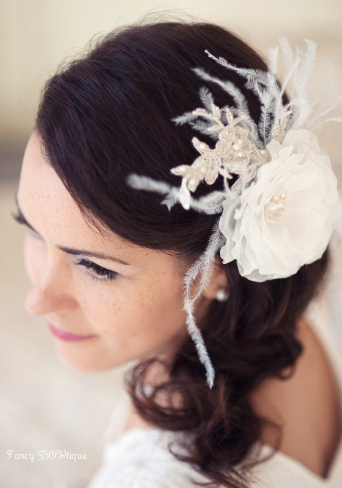 Bridal hair flower, bridal feather hair accessory, vintage wedding hair accessories, bridal  hair piece-Margo