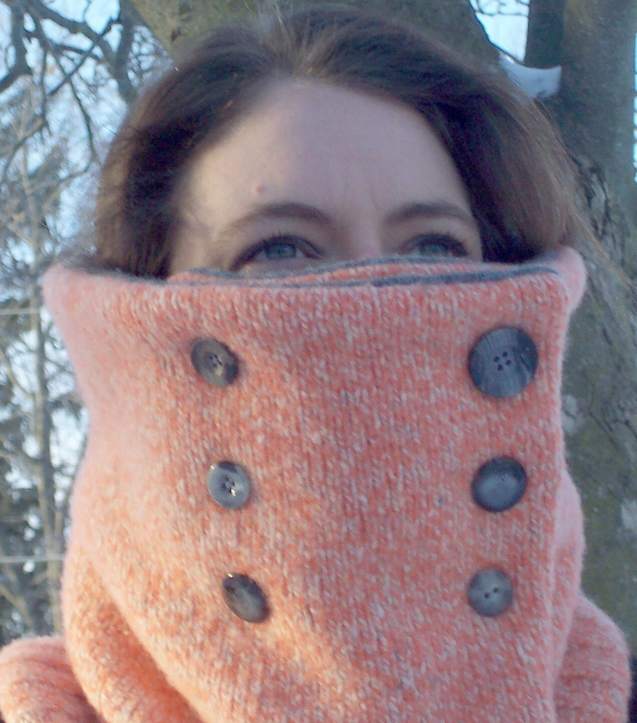 Wool Orange Gray Double Breasted Cowl Unisex Warm Fashion Tube Scarf
