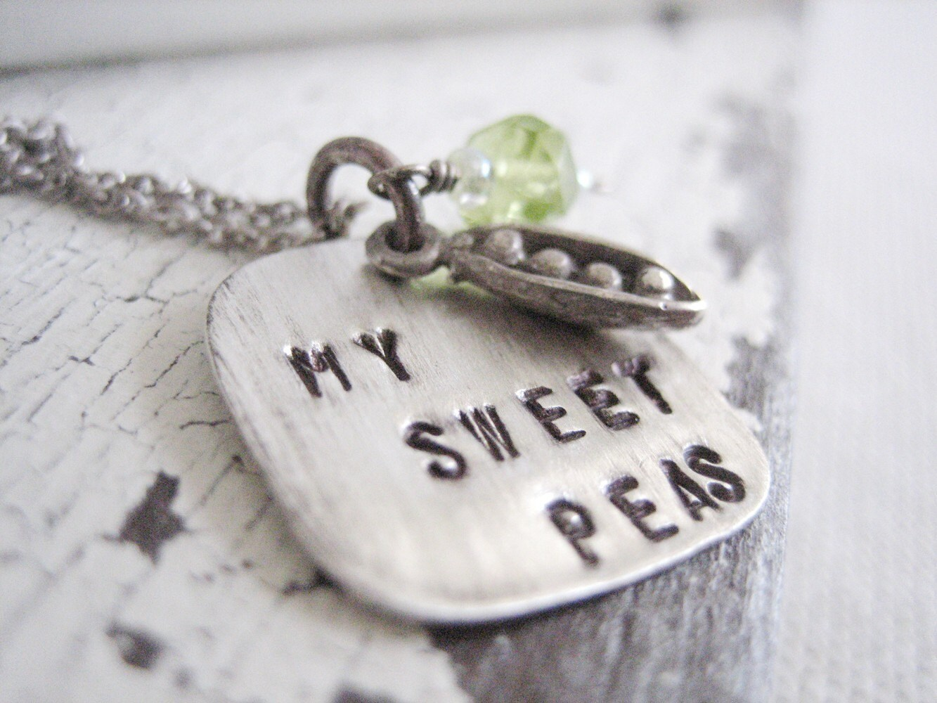 hand stamped jewelry, my sweet peas necklace.