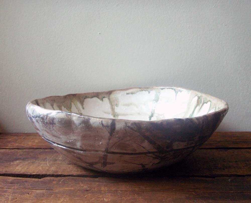 vintage pottery bowl, hand built, rustic bowl, raku pottery, raku bowl, - fieldandramble