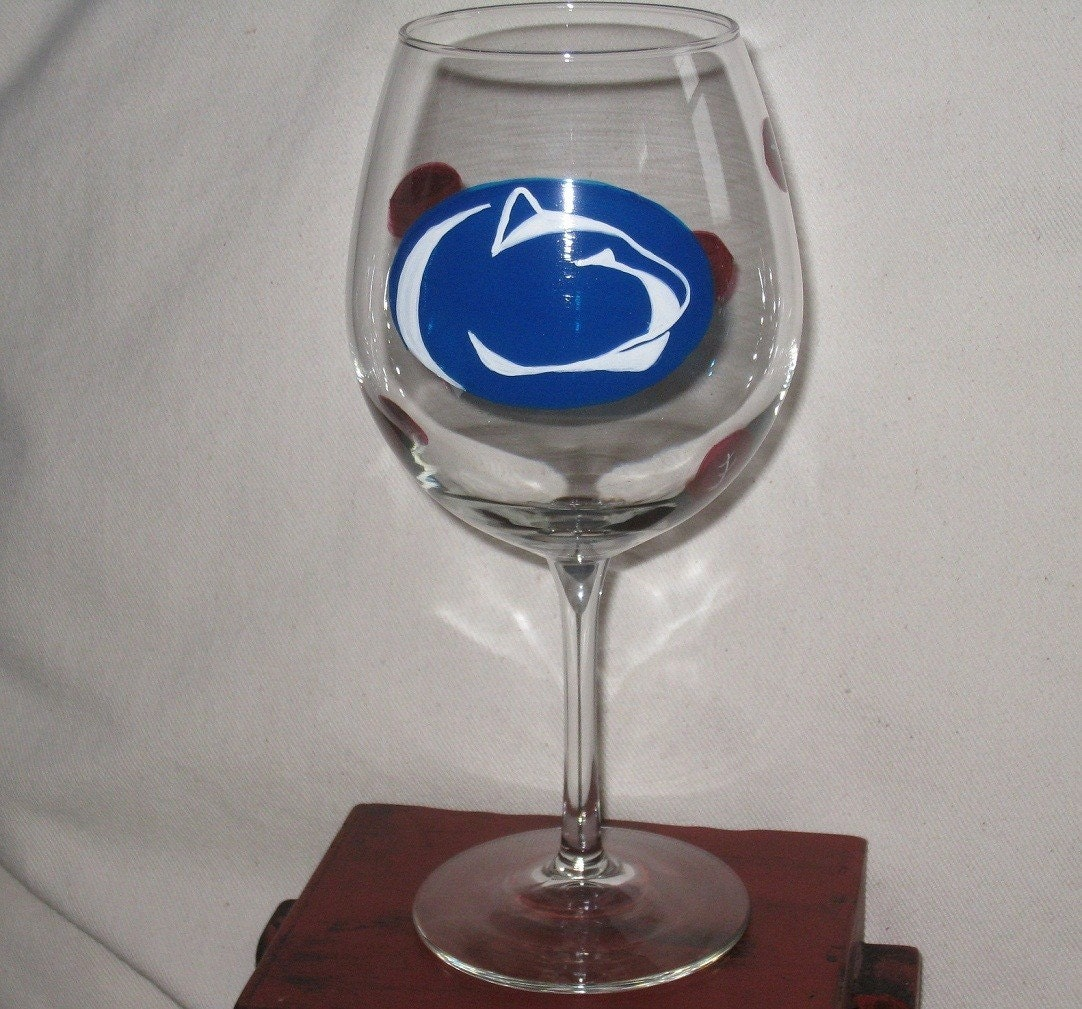 Penn State Hand Painted Wine Glass