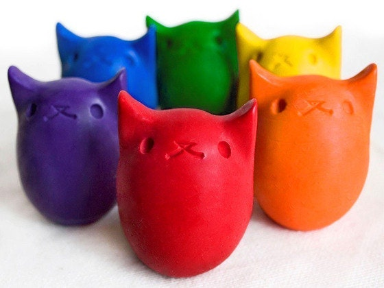 Babys First Colors - All Natural Kitty Egg Crayons - 6 Colors