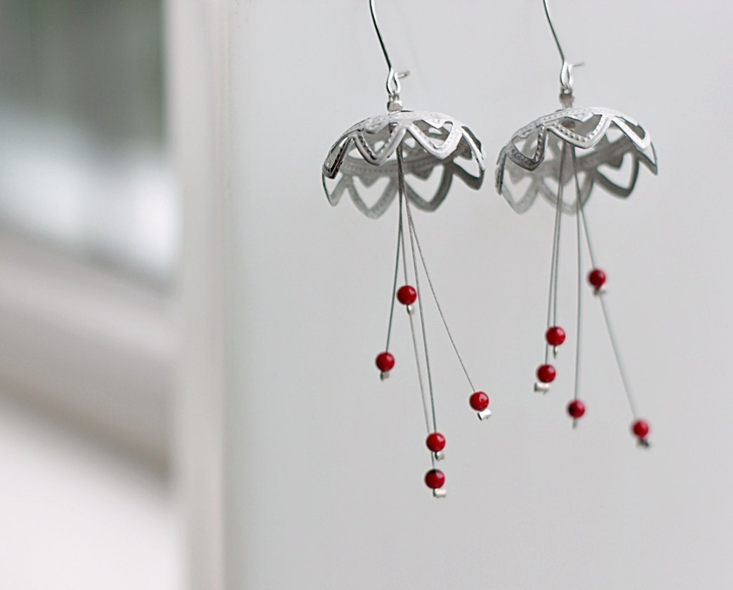 White red delicate dangle earrings- statement- beaded- chandelier- filigree and coral beads