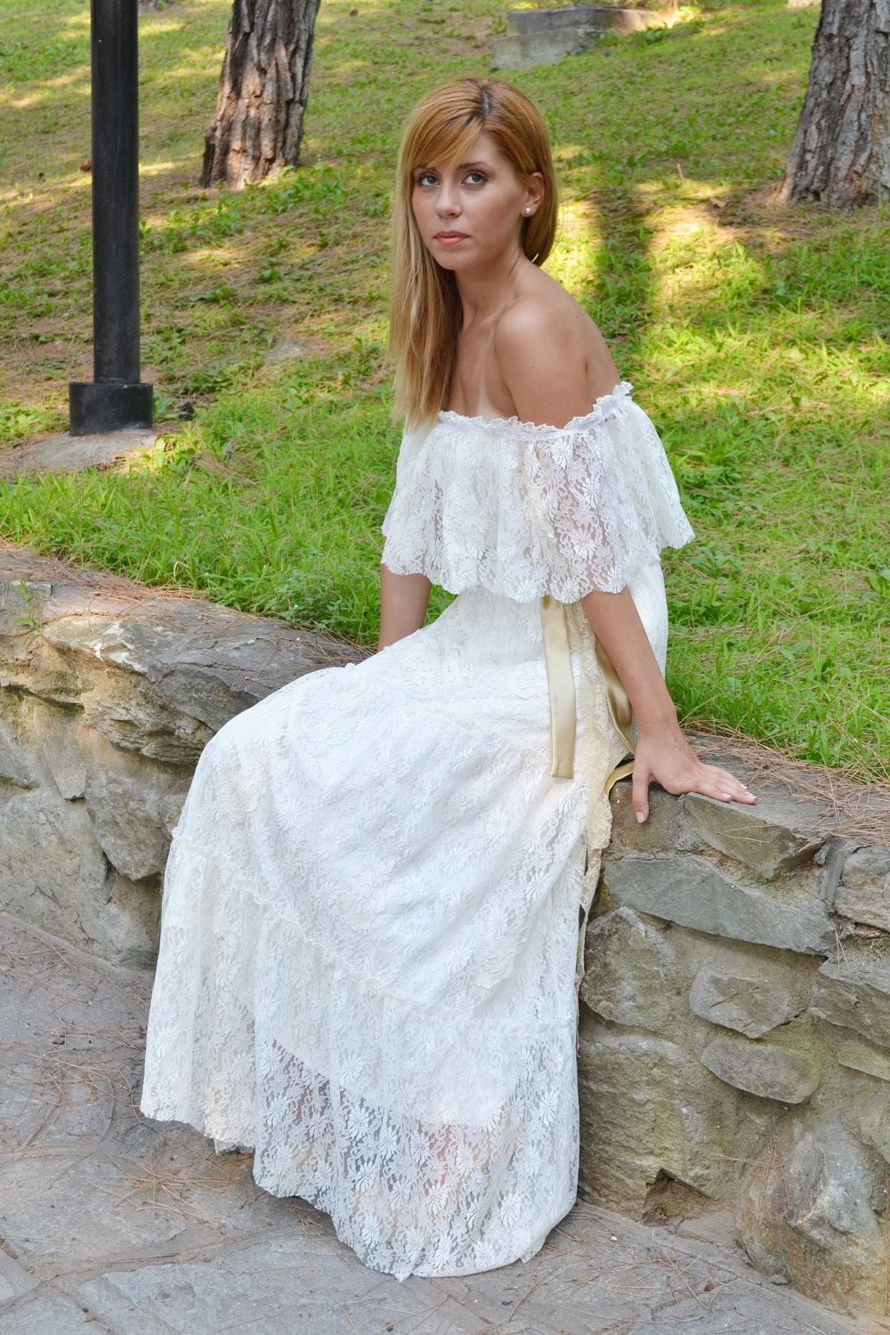 70 Having A Wedding In 70s Lace Ivory Wedding Dress Ruffled Vintage By