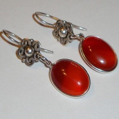 Carnelian drop earrings on bali silver flower hooks