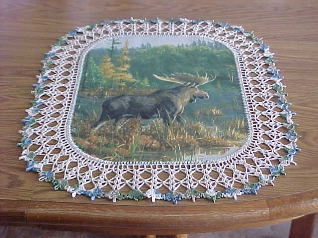 Crocheted Doily Moose Doily Made in Montana by Best Doilies and Crafts