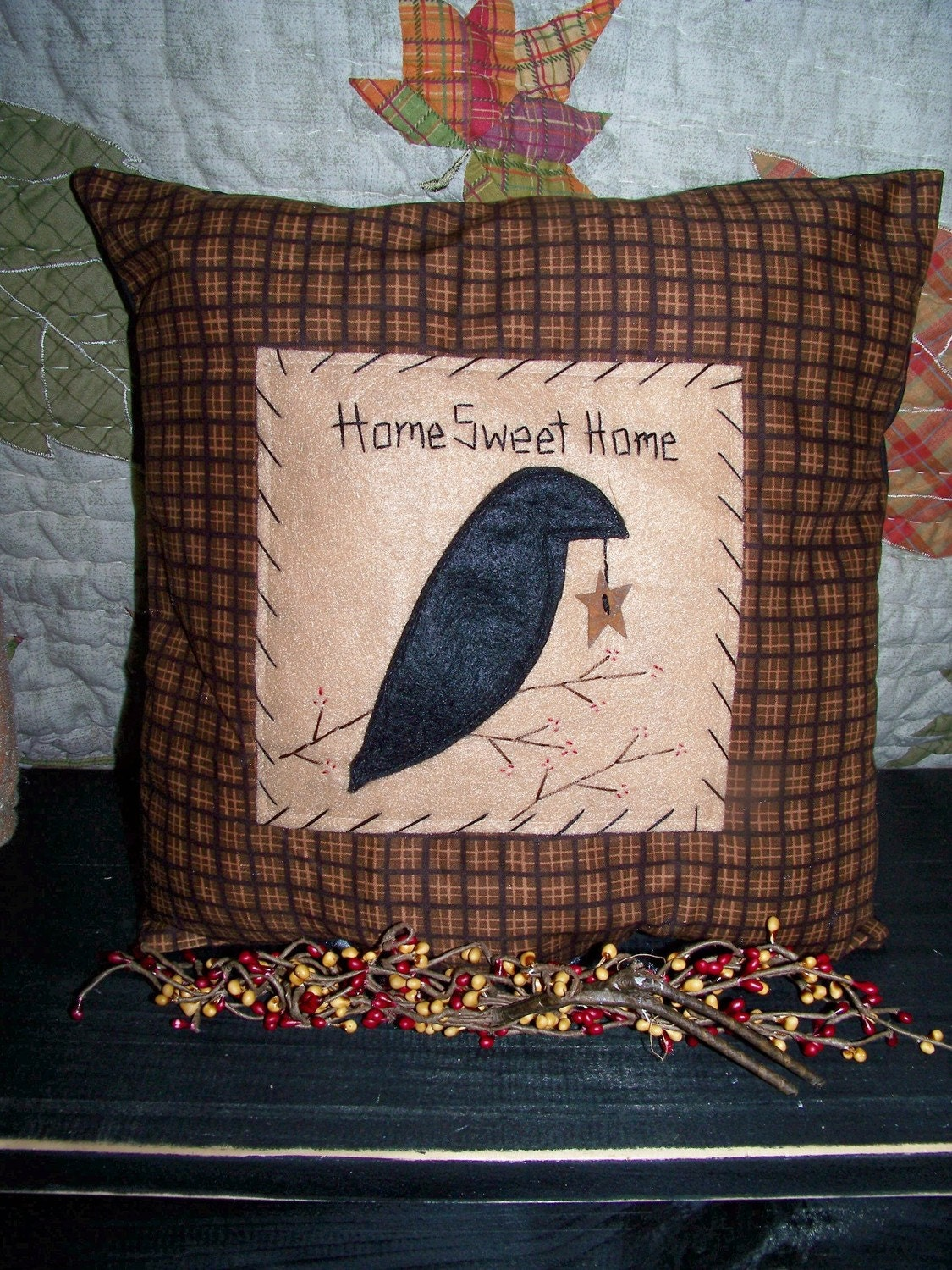 Primitive Decor Crow Pillow Country Rustic Cabin By Wvluckygirl