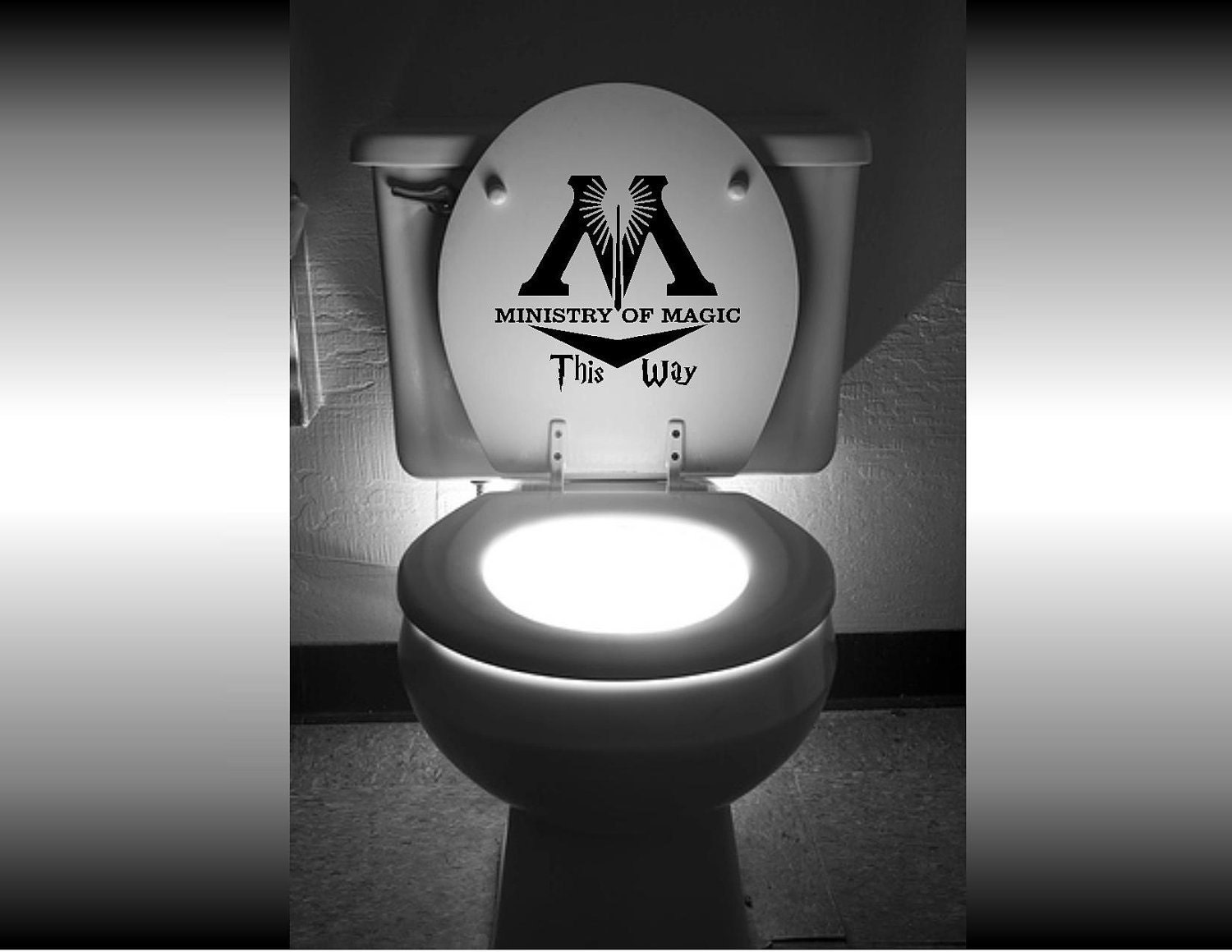 "Harry Potter ""Ministry of Magic This Way"" Toilet Decal / Loo Sticker"